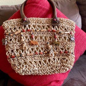 Handbags - Vintage Raffia Carved Animals Wood Bead Bag